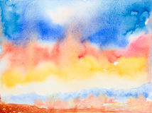 Colorful sky and sea 'watercolor painted Royalty Free Stock Photography
