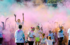 Colorful sky during the south bend color run 5k race Stock Images