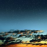 Colorful sky with stars after sunset. Royalty Free Stock Photos