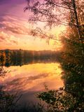Colorful sky at sunrise over the river Royalty Free Stock Photography