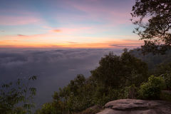 Colorful sky before sunrise view from mountain in Thailand Royalty Free Stock Photo
