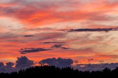 Colorful sky at sunset. Beautiful colorful sky with various clouds at sunset royalty free stock image