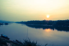 Colorful sky at sunset over Mekong river Royalty Free Stock Image