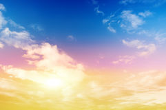 Colorful sky and sunshine Stock Photos