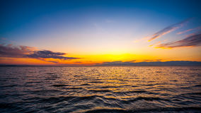 Colorful sky and water in lake Paliastomi in morning , Poti, Geo Royalty Free Stock Image