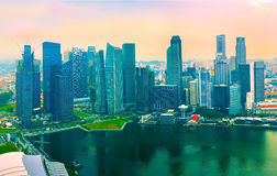 Colorful skyline of Singapore Stock Image