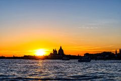 Colorful skyline of Venice, Italy at sunset. stock photo