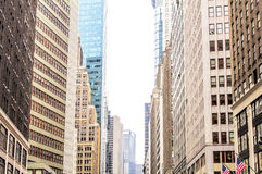 Colorful skyscrappers in New York, USA. Broadway view Stock Image