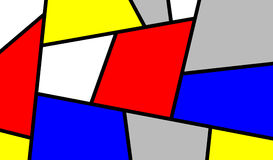 Colorful Slanting Mondrian Art Piece Stock Image