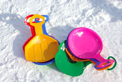 Colorful sledges Stock Images