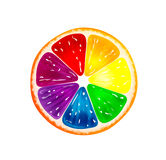 Colorful slice of orange or lemon with clipping path for each color. Rainbow slice with red, orange, yellow, blue, green, and purple colors Stock Photos
