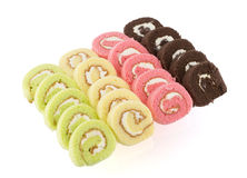 Colorful slice roll cake Royalty Free Stock Images