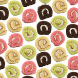 Colorful sliced roll cake Stock Photos