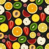 Colorful sliced various fruit summer seamless dark pattern Royalty Free Stock Photos