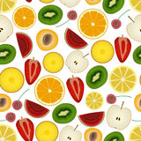 Colorful sliced various fruit summer seamless pattern eps10 Stock Image