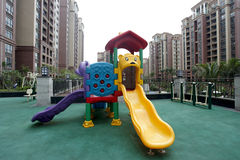 Colorful playground in Chinese apartment district Stock Photo