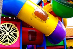 Colorful Slides. Abstract photograph featuring childrens play equipment at a fast food restaurant (Adelaide, Australia royalty free stock image