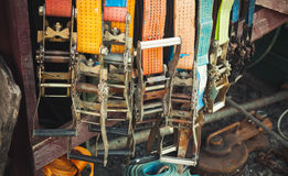 Colorful slings with steel buckles Royalty Free Stock Photos