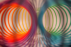 Colorful slinky. Close-up of colorful slinky royalty free stock photo