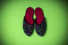 Slipper shoe on green background royalty free stock photo