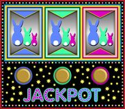 Slot machine with easter bunnies Royalty Free Stock Images