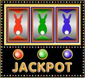 Slot machine with three easter bunnies. Colorful Slot machine with three three easter bunnies vector illustration