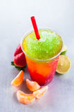 Colorful Slush Drink with Fresh Fruit Ingredients stock image