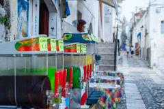 Colorful slushes on display in the historical center of an italian sea town. Colorful slushes on display in the historical center of Peschici, Italy Stock Image