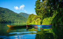 Colorful small boats on Phewa Lake in Pokhara Stock Image