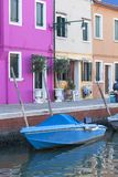 Colorful small, brightly painted houses on the island of Burano,Venice, Italy Stock Photo