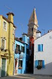 Colorful small brightly painted houses on the island of Burano. Venice Italy stock photo