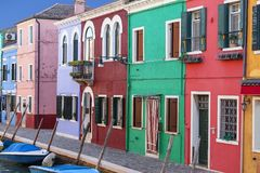 Colorful small, brightly painted houses on the island of Burano,Venice, Italy Royalty Free Stock Photo