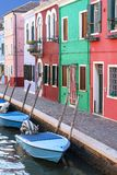 Colorful small, brightly painted houses on the island of Burano, Venice, Italy Stock Images