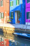 Colorful small, brightly painted houses on the island of Burano,  Venice, Italy Royalty Free Stock Photos