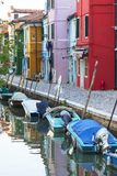 Colorful small, brightly painted houses on the island of Burano,  Venice, Italy Stock Image