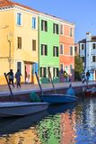 Colorful small, brightly painted houses on the island of Burano,Venice, Italy. VENICE-ITALY, SEPTEMBER  21, 2017: Colorful small, brightly painted houses on the Royalty Free Stock Image