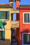Colorful small, brightly painted houses on the island of Burano,Venice, Italy Stock Images