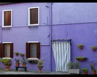 Colorful small, brightly painted houses on the island of Burano,Venice, Italy Royalty Free Stock Photos