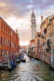Colorful Canal in Venice, Italy. royalty free stock image