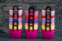 Colorful Small Decorative Plastic Bags with handle Royalty Free Stock Image