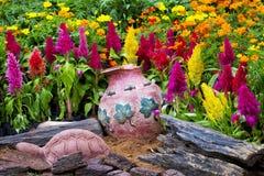 Colorful small garden design Stock Photo