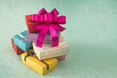 Colorful small gift box with bow Royalty Free Stock Photography
