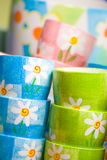 Colorful small pots Stock Image