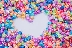 Colorful small star and heart frame Royalty Free Stock Photography