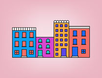 Colorful small town Stock Images