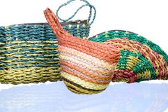 Colorful small weave handbags Royalty Free Stock Image