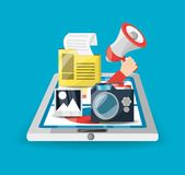 Colorful smarphone and icons of digital marketing. Vector illustration Royalty Free Stock Image