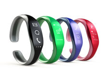 Colorful smart bands with rubber bracelet isolated on white background Stock Photography