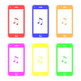 Colorful Smart Phones Playing Music Stock Photo