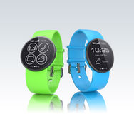 Colorful smart watch on gray background Stock Photography
